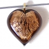 Glass Lamp Pendant Heart 13mm Smoke Topaz/Silver